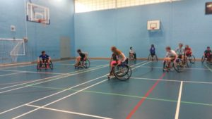 ?The Bears hosted a wheelchair basketball taster session for the local Random Explorer Scout Unit